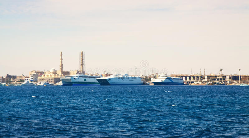 Hurghada from Red sea. Egypt stock photography
