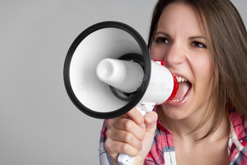 Hurlement de la femme de mégaphone photos libres de droits