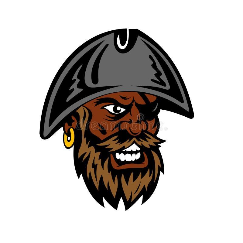Hurlement du pirate barbu de bande dessinée dans le chapeau de capitaine illustration de vecteur
