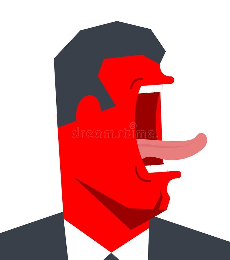 Hurlement fâché de bossage blanc de bureau de durée de fond d'image 3d Homme d'affaires criant Vecteur illustration libre de droits