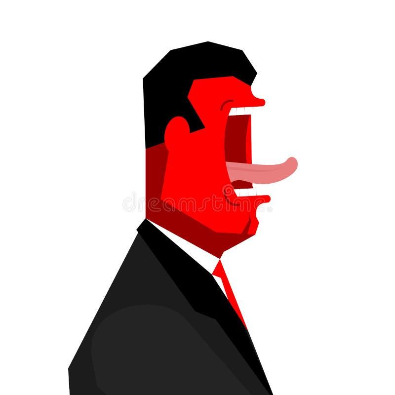 Hurlement fâché de bossage blanc de bureau de durée de fond d'image 3d Homme d'affaires criant Vecteur i illustration de vecteur