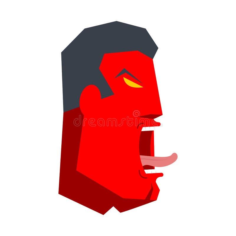 Hurlement fâché de bossage blanc de bureau de durée de fond d'image 3d Homme d'affaires criant Vecteur i illustration libre de droits