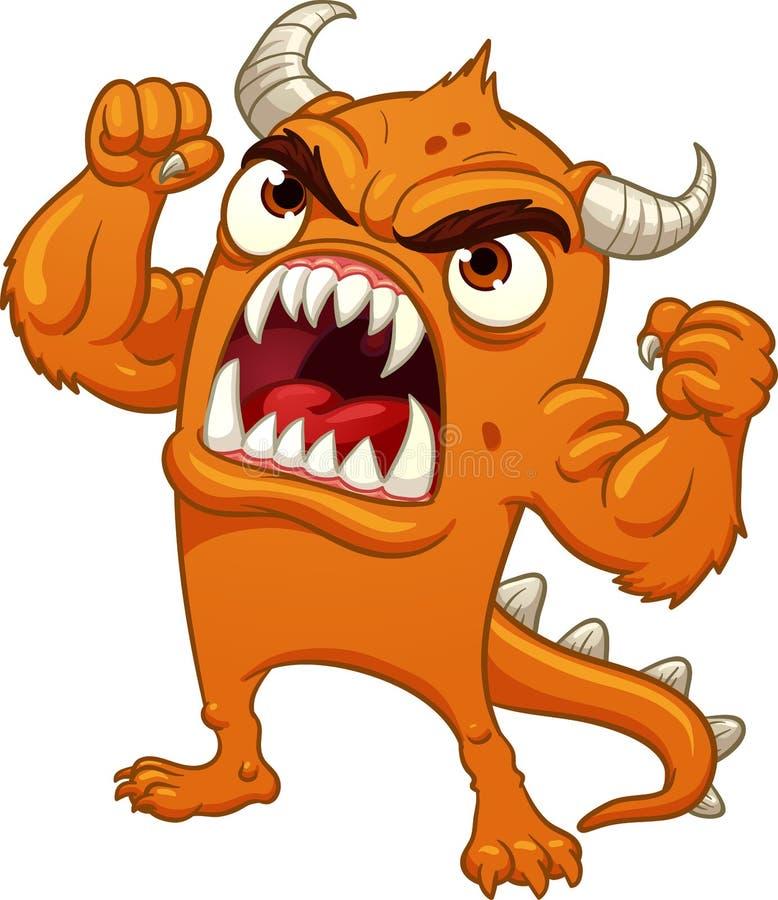 Hurlement orange fâché de monstre de bande dessinée illustration stock