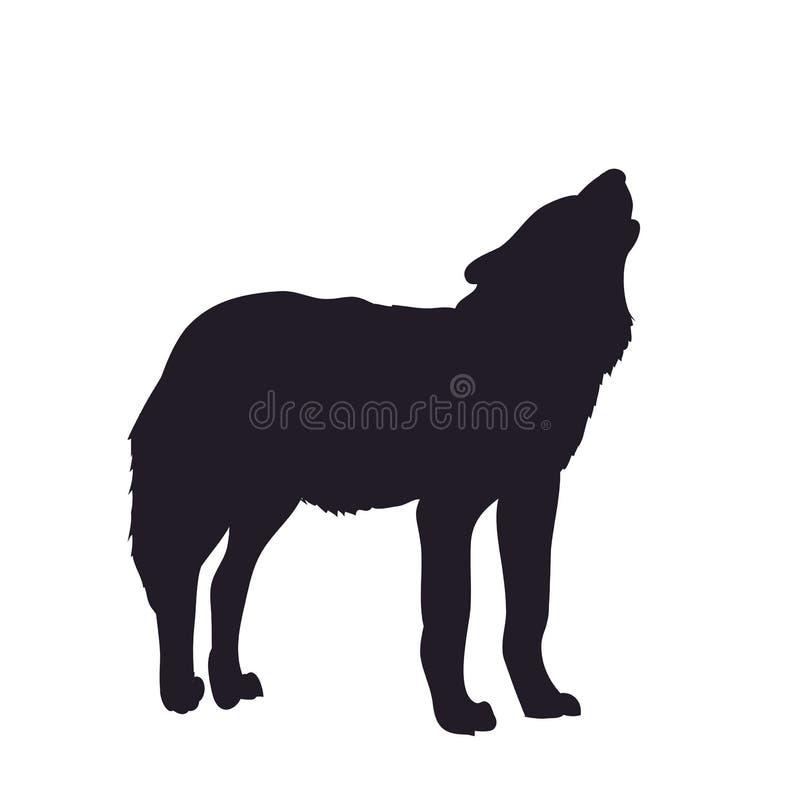 Hurlements de loup, silhouette d'image, vecteur illustration de vecteur