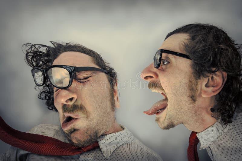 Hurlements fâchés de jumeau images stock