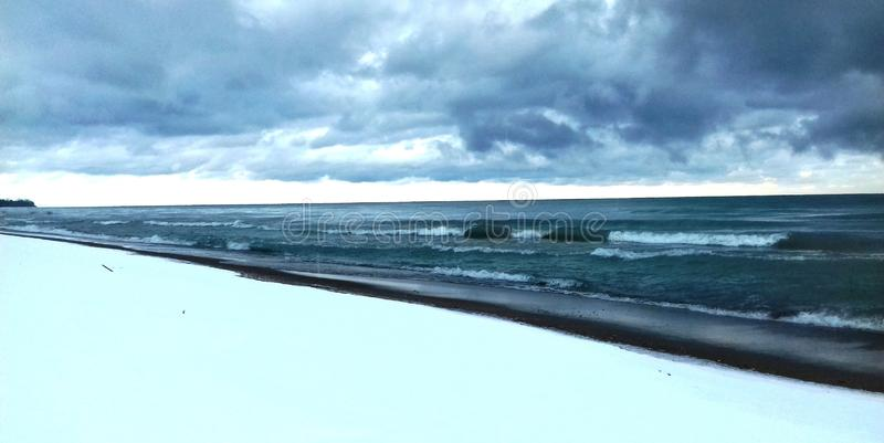 Huron湖在冬天 免版税库存照片