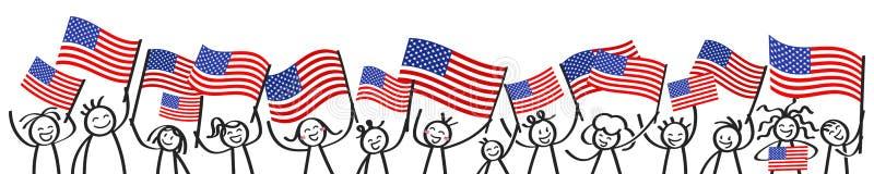 Hurra folkmassan av lyckliga pinnediagram med amerikanska nationsflaggor, USA supportrar som ler och vinkar detspangled banret vektor illustrationer