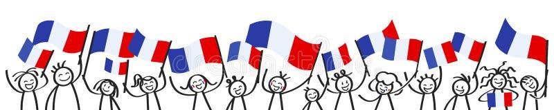 Hurra folkmassan av lyckliga pinnediagram med franska nationsflaggor, Frankrike supportrar som ler och vinkar tricolor flaggor vektor illustrationer