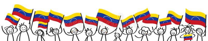 Hurra folkmassan av lyckliga pinnediagram med venezuelanska nationsflaggor som ler Venezuela supportrar, baner för sportfans royaltyfri illustrationer