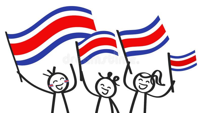 Hurra gruppen av tre lyckliga pinnediagram med Costa Rican nationsflaggor som ler Costa Rica supportrar, sportfans stock illustrationer