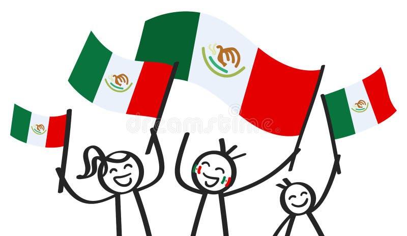 Hurra gruppen av tre lyckliga pinnediagram med mexicanska nationsflaggor som ler Mexico supportrar, sportfans stock illustrationer