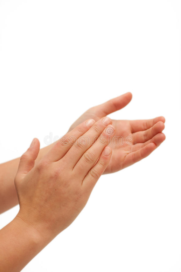 Hurra! Human hands clapping stock photo