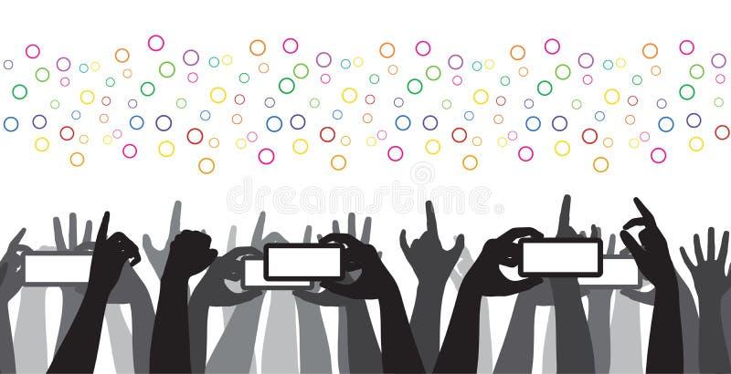 Hurra mobil inspelning för folkmassan vagga konserten  stock illustrationer