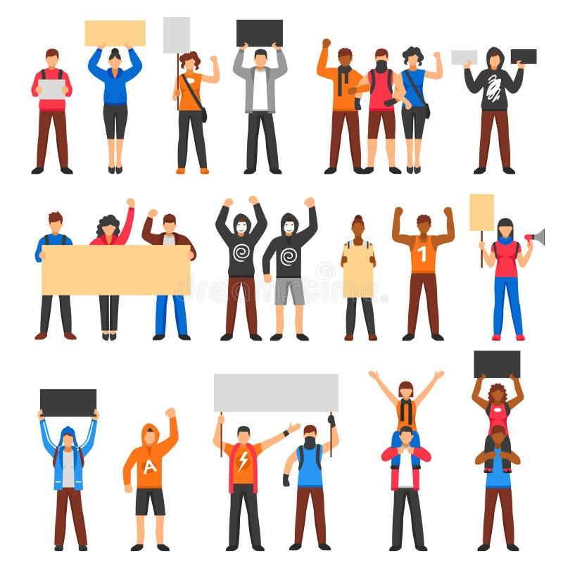 Hurra protestera folkmassauppsättningen vektor illustrationer