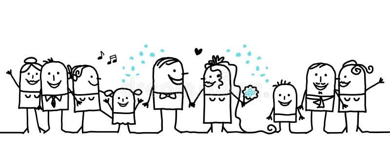 Hurrah pour les nouveaux mariés ! illustration de vecteur