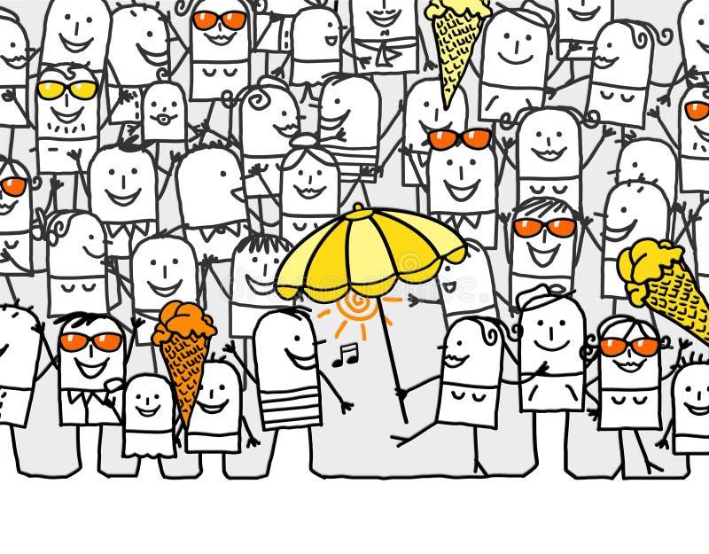 Hurray for summer days. Hand drawn cartoon card - hurray for summer days royalty free illustration