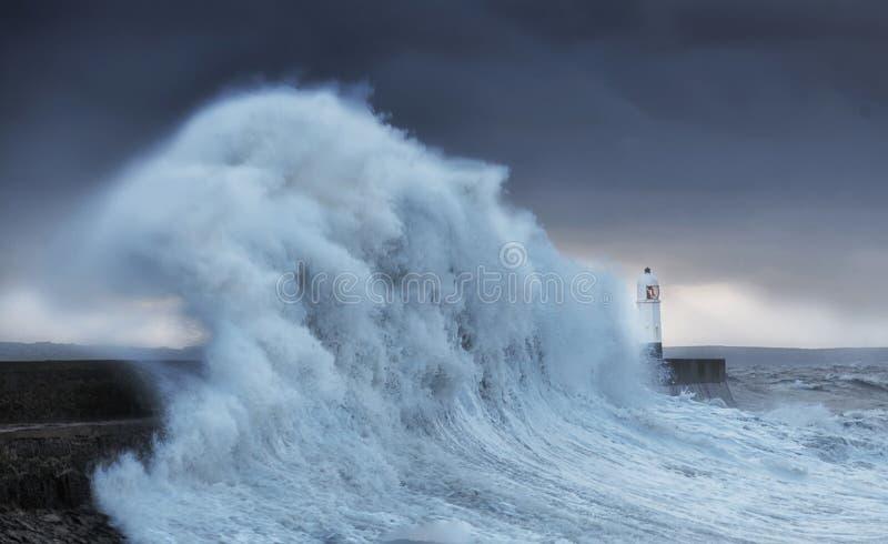 Hurricane Brian hits Porthcawl stock image