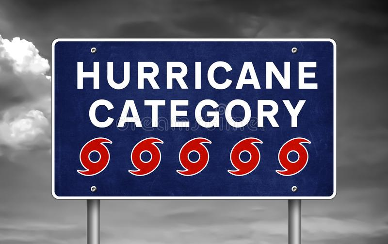 Hurricane category five - road sign warning royalty free stock photography