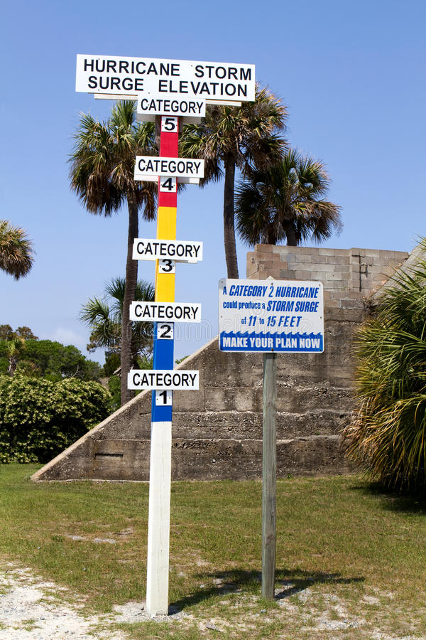 Hurricane Category Gauge. Hurricane storm surge elevation category gauge is erected on a barrier island stock photos