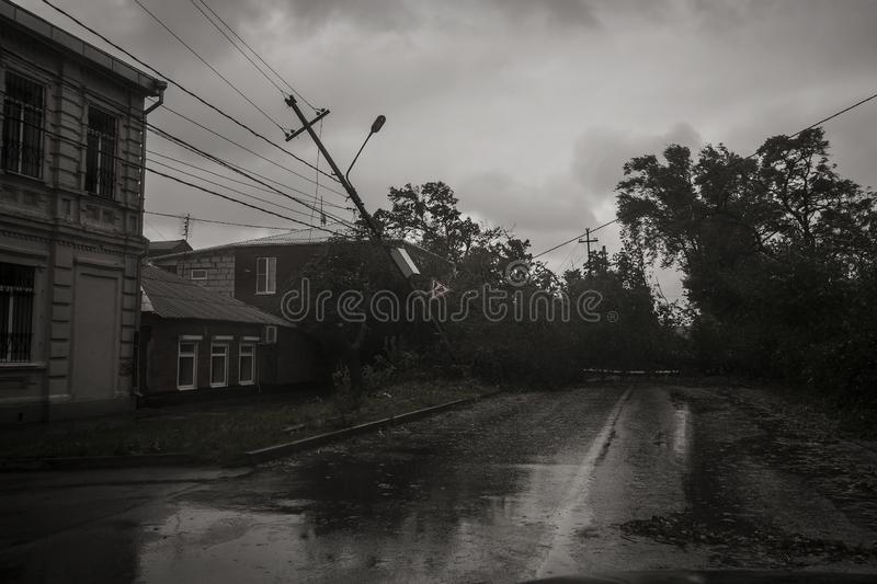 Hurricane in the city of Taganrog, Rostov region, Russian Federation September 24, 2014. Storm in the city of Taganrog, Rostov region, Russian Federation stock image