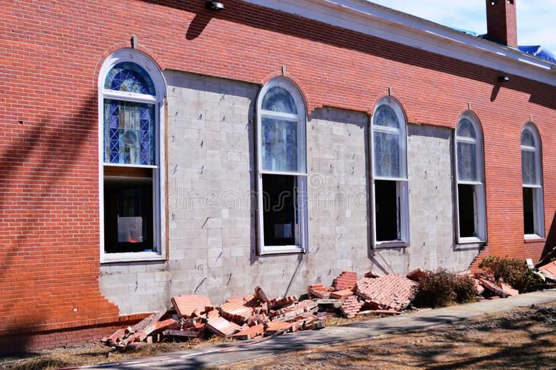 Hurricane damage to Church. The First United Methodist Church of Port St. Joe Florida suffered extensive damage due to Hurricane Michael. The brick façade and stock photos