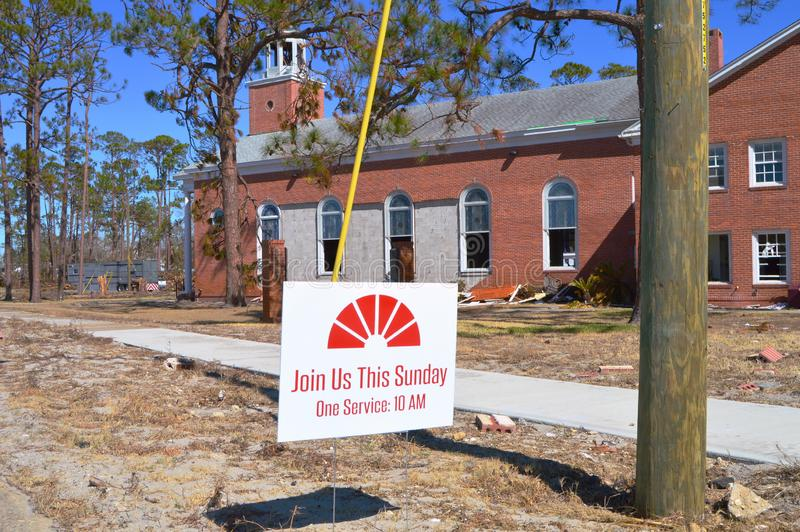 Hurricane damage to Church. The First United Methodist Church of Port St. Joe Florida suffered extensive damage due to Hurricane Michael. The brick façade and royalty free stock images