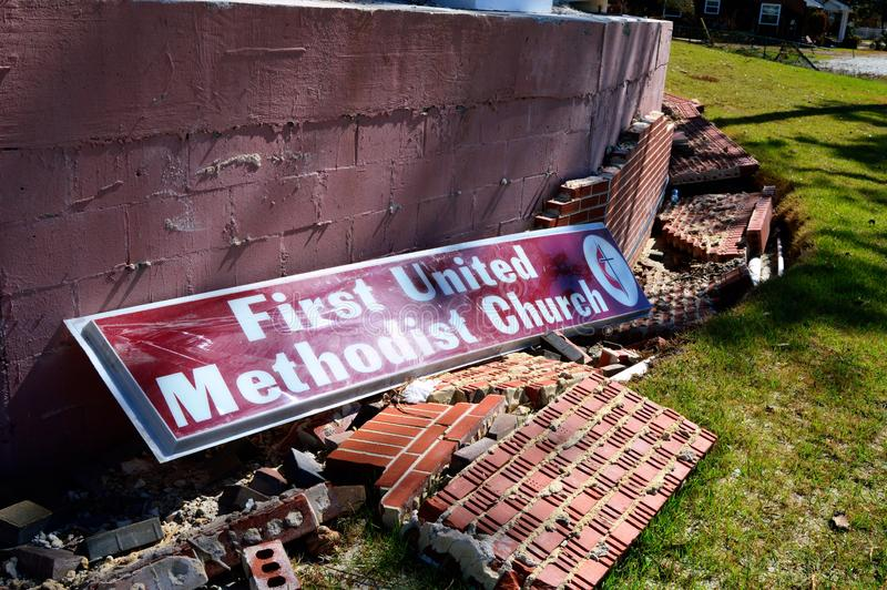 Hurricane damage to Church. The First United Methodist Church of Port St. Joe Florida suffered extensive damage due to Hurricane Michael. The brick veneer was stock photography