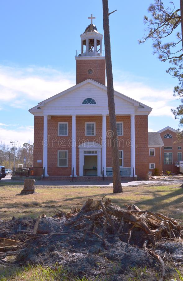 Hurricane damage to Church. The First United Methodist Church of Port St. Joe Florida suffered extensive damage due to Hurricane Michael. The ground was gouged royalty free stock photos