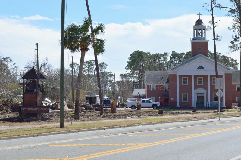 Hurricane damage to Church. The First United Methodist Church of Port St. Joe Florida suffered extensive damage due to Hurricane Michael. The ground was gouged royalty free stock photography