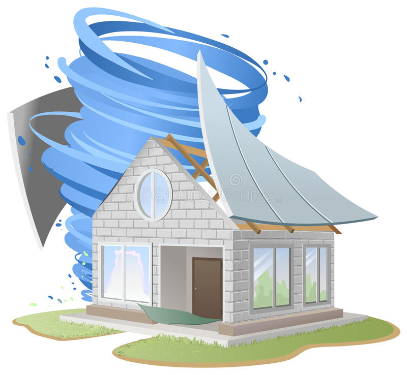 Hurricane destroyed roof of house stock vector for Home under construction insurance