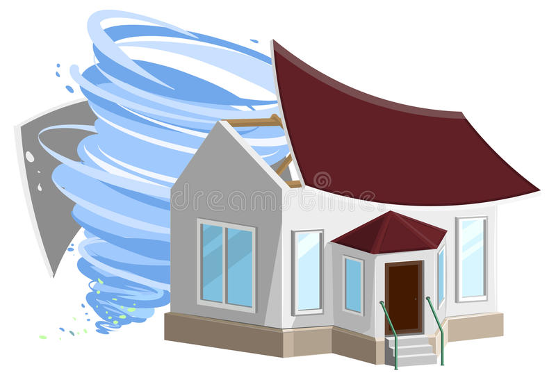 Hurricane destroyed roof of house. Property insurance. vector illustration