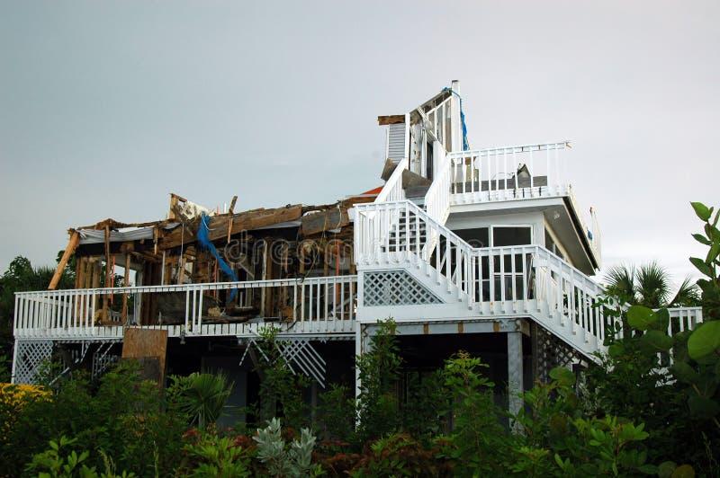 Hurricane Destruction. A hurricane damaged stilt home on a south Florida island