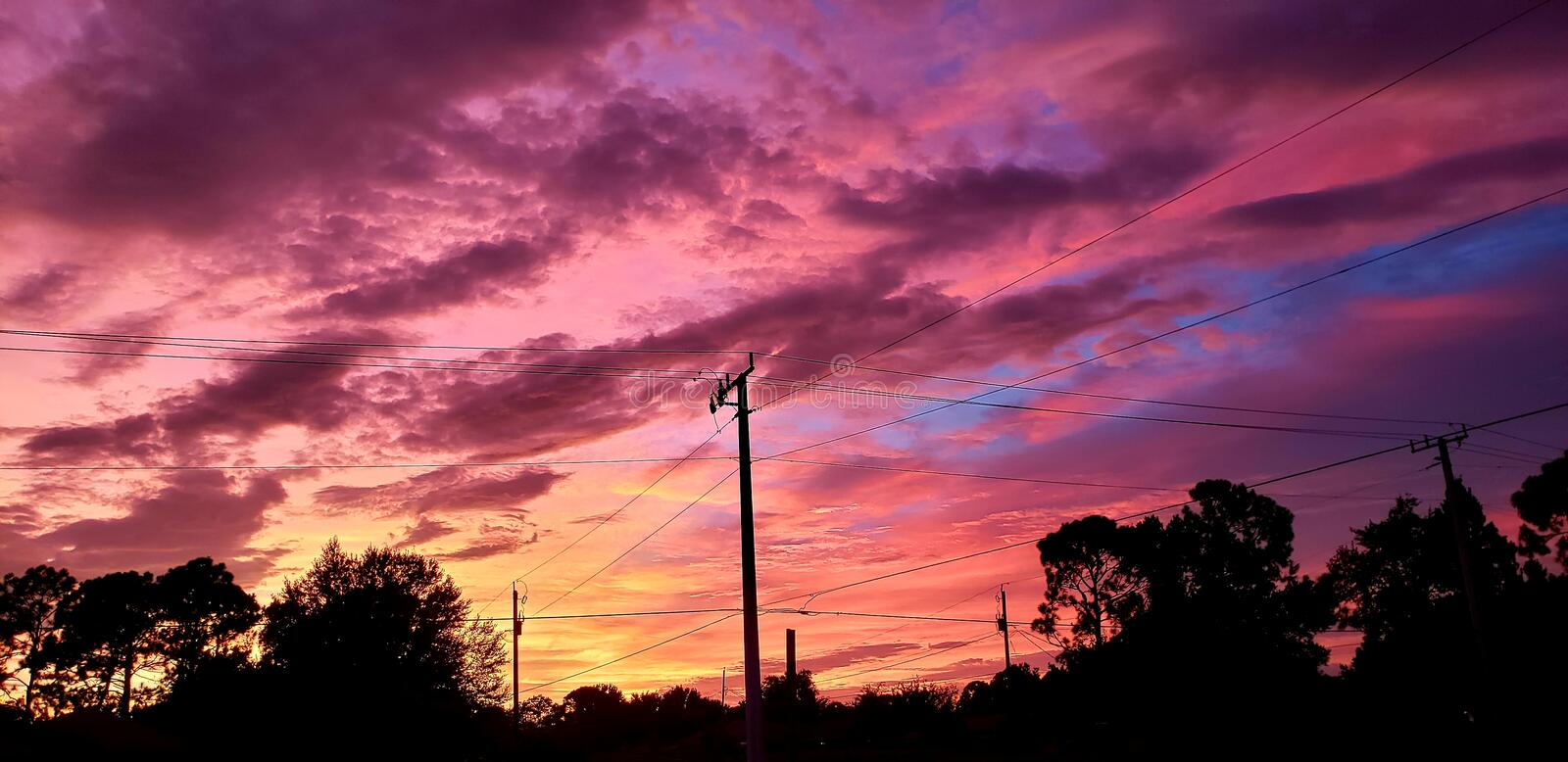 After Hurricane Dorian. Colorful sunset a day after Hurricane Dorian royalty free stock images