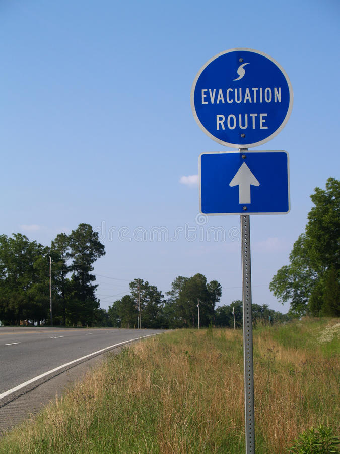 Hurricane Evacuation Route Sign stock images
