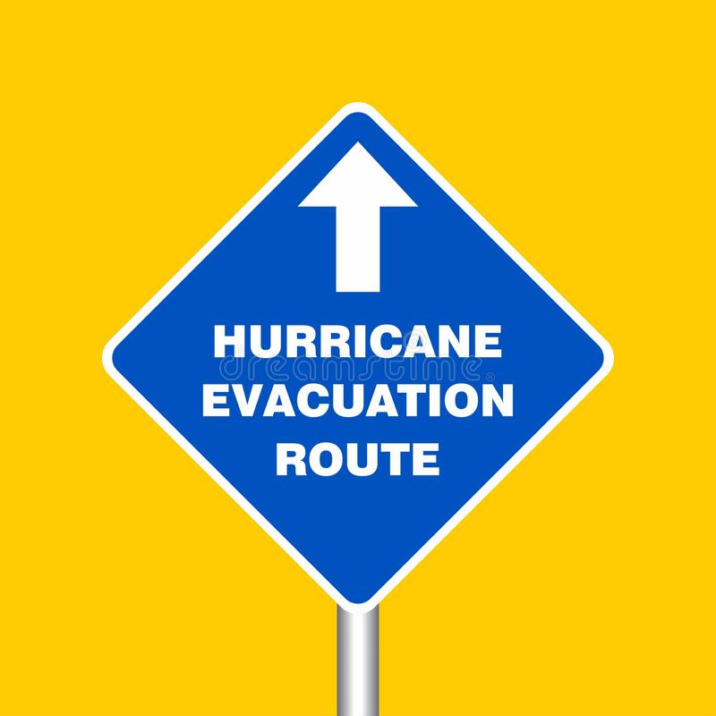 Hurricane Evacuation Route Sign Board, Hurricane indication. Graphic banner of hurricane warning. Icon, sign, symbol, indication vector illustration