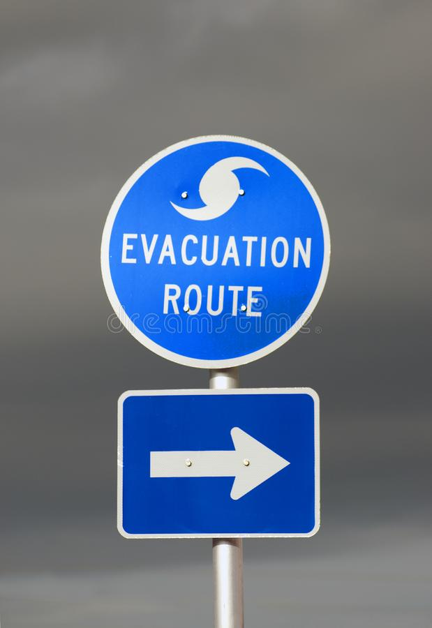Hurricane Evacuation Route Sign. With Stormy Skies behind it stock photo