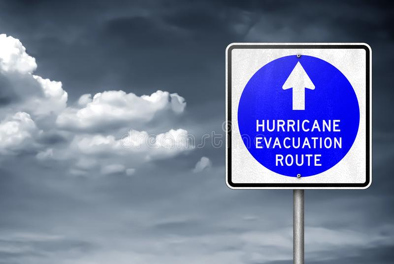 Hurricane evacuation route - traffic sign information royalty free stock image
