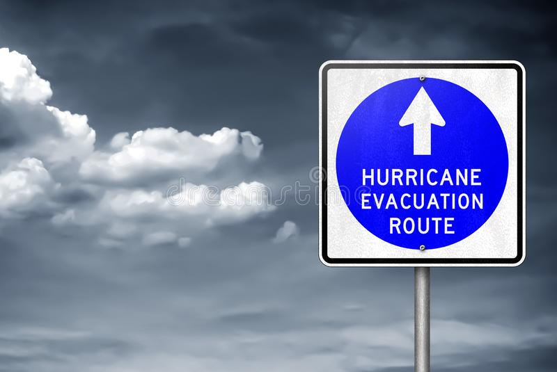 Hurricane evacuation route - traffic sign information. Hurricane evacuation route traffic sign information stock photo