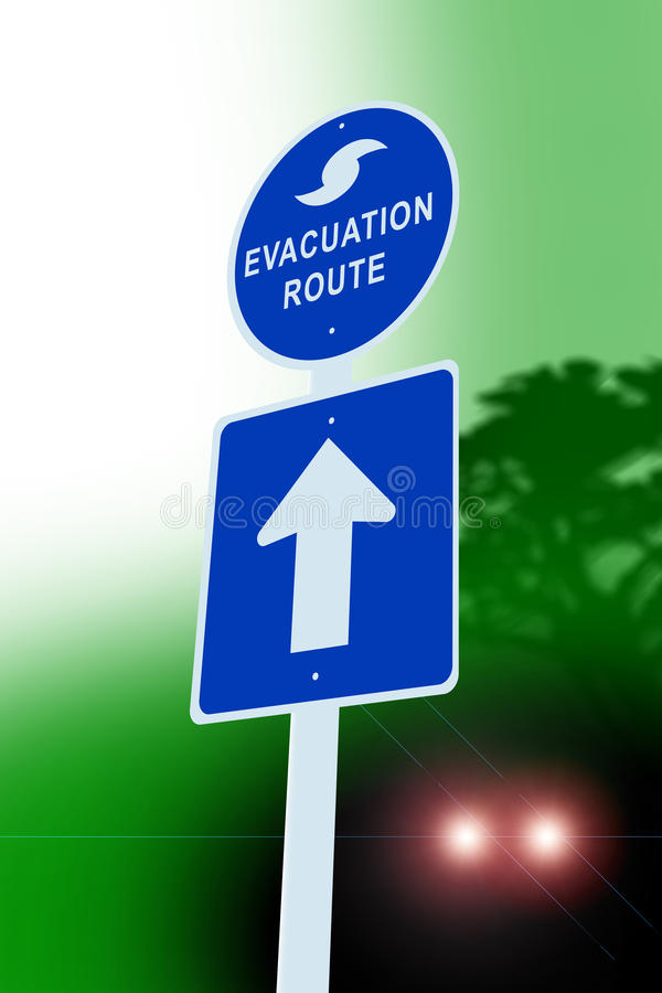 Hurricane Evacuation Sign Stock Photo