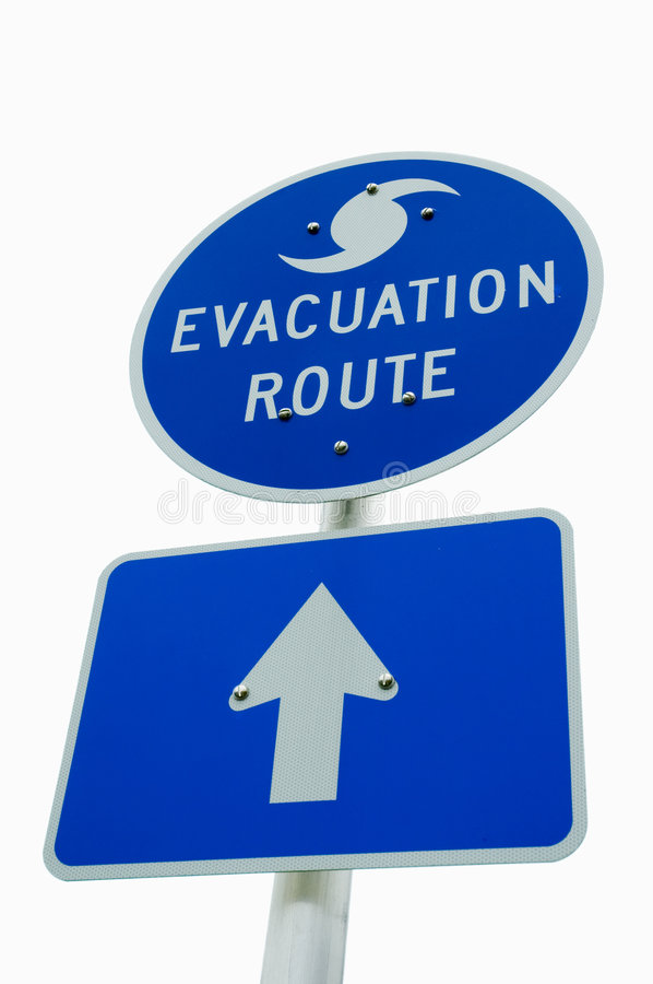 Hurricane Evacuation Sign. Isolated evacuation sign for storms royalty free stock photos