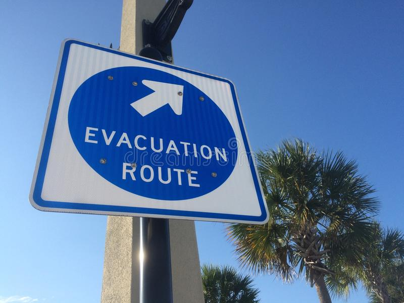 Hurricane evacuation sign. At Saint Augustine, Florida, USA stock images