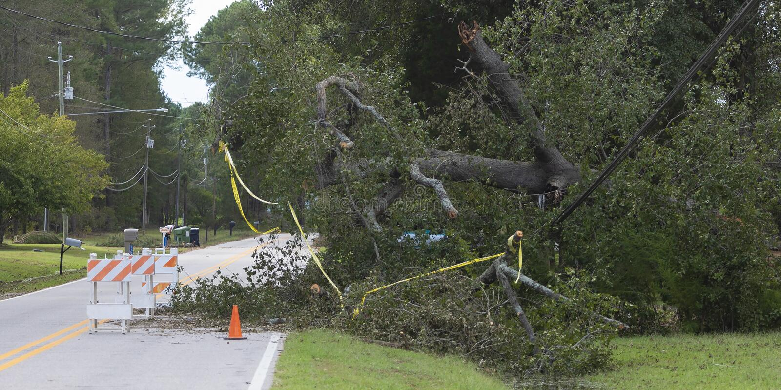 Hurricane Florence damage to power lines in Wagram North Carolina. Wagram, North Carolina, United States/September 18, 2018: Power line that went down during royalty free stock photography