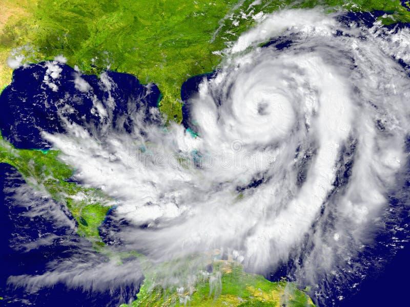 Hurricane between Florida and Cuba stock illustration