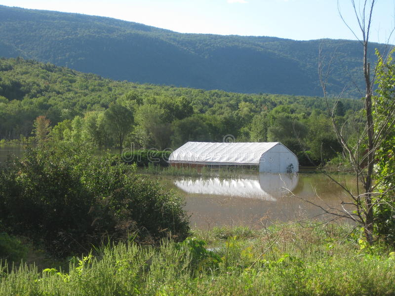 Hurricane Irene. A greenhouse sits in the flood waters of Hurricane irene that hit Vermont on August 28, 2011 stock image