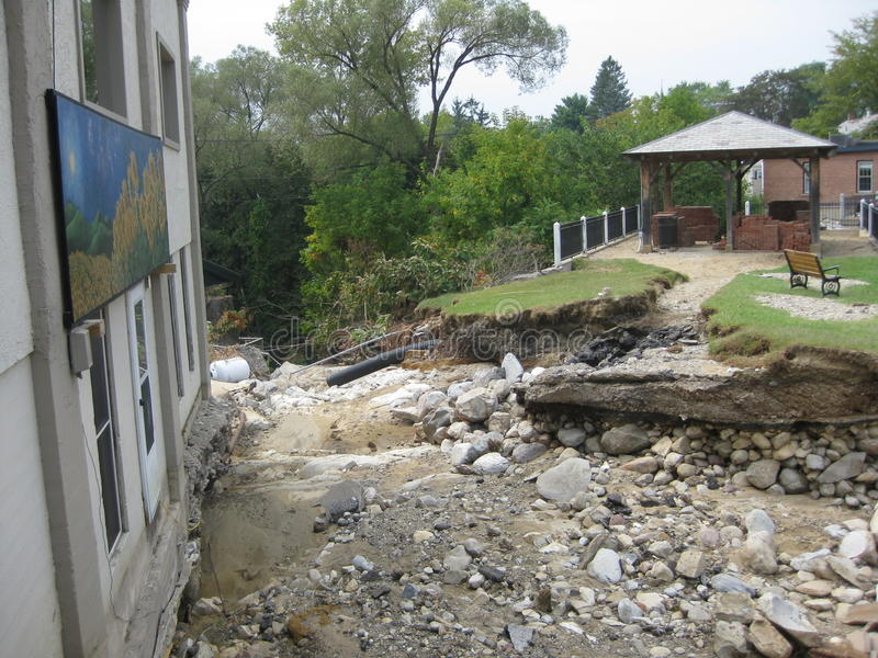 Hurricane Irene. A park and foundations washed away during the vengeance of Hurricane Irene as it caused floods and destroying homes and businesses in it's path royalty free stock image