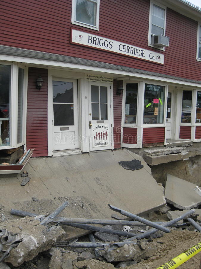 Hurricane Irene. With it's massive destruction and devastation hit the state of Vermont on August 28,2011 with heavy rains and flooding of homes and businesses royalty free stock images