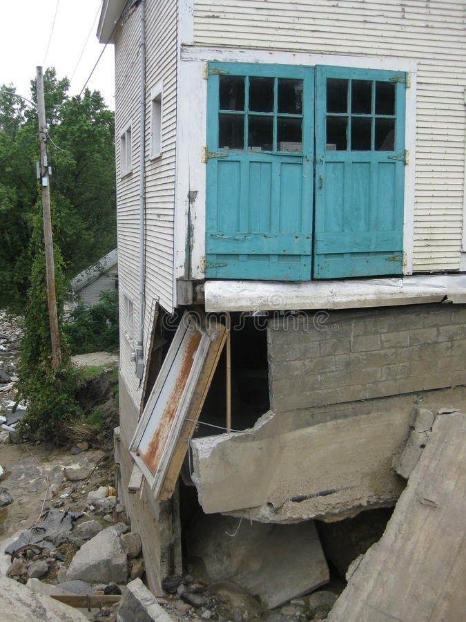 Hurricane Irene. Tore away buildings, foundations,roads,bridges,homes, and anything that was in the path of the floods that changed the footprint of Vermont stock image