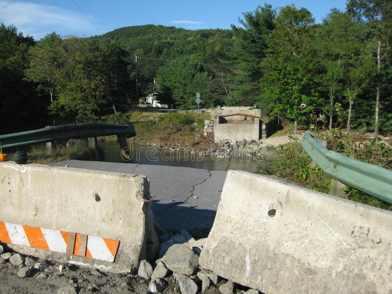 Hurricane Irene. Hit Vermont on August 28,2011 with massive floods and torrential rains. Destroying not only homes but Vermont's covered bridges that can never royalty free stock photos