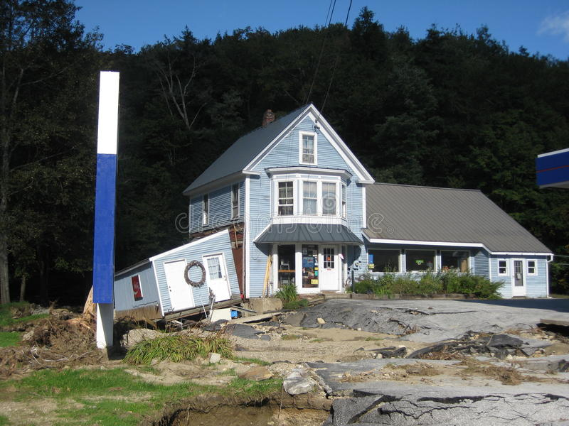 Hurricane irene. Hit the Killington and Bridgeport, Vermont area especially hard leaving businesses as this General Store in pieces. Flood waters tore up stock image