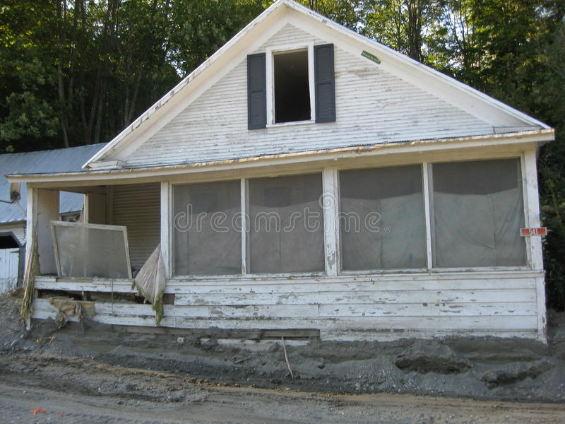 Hurricane Irene. Left many people homeless as it left destruction thru out the state of Vermont on August 28,2011 with it's massive flooding stock photo